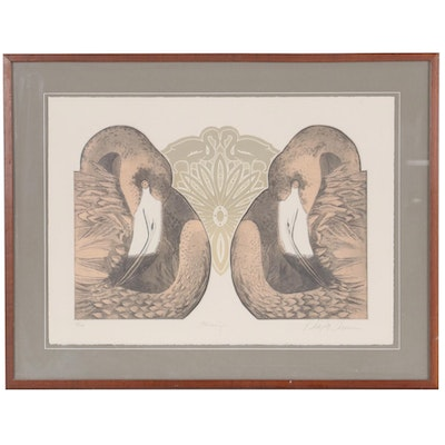 "Phillip Turner Embossed Color Etching ""Flamingos"""