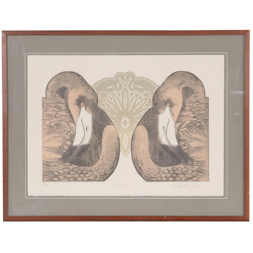 "Phillip Turner Embossed Color Etching ""Flamingos"""