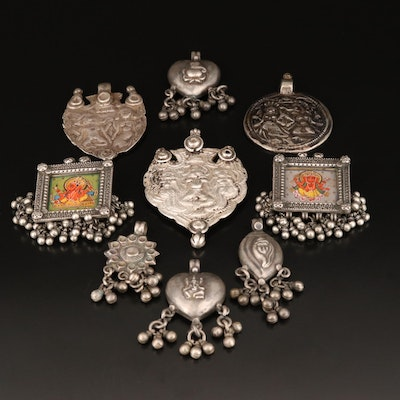 Asian Indian Rajasthani and Ganesha Sterling and 800 Silver Amulet Pendants