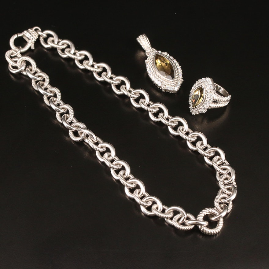 Judith Ripka Sterling Necklace and Ring Set Featuring Citrine and Cubic Zirconia