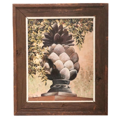 """Jim Helbling Oil Painting """"Outdoor Ornament Pineapple,"""" 2006"""