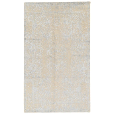 4'10 x 8' Hand-Knotted Indo-Persian Tabriz Silk and Wool Area Rug, 2000s