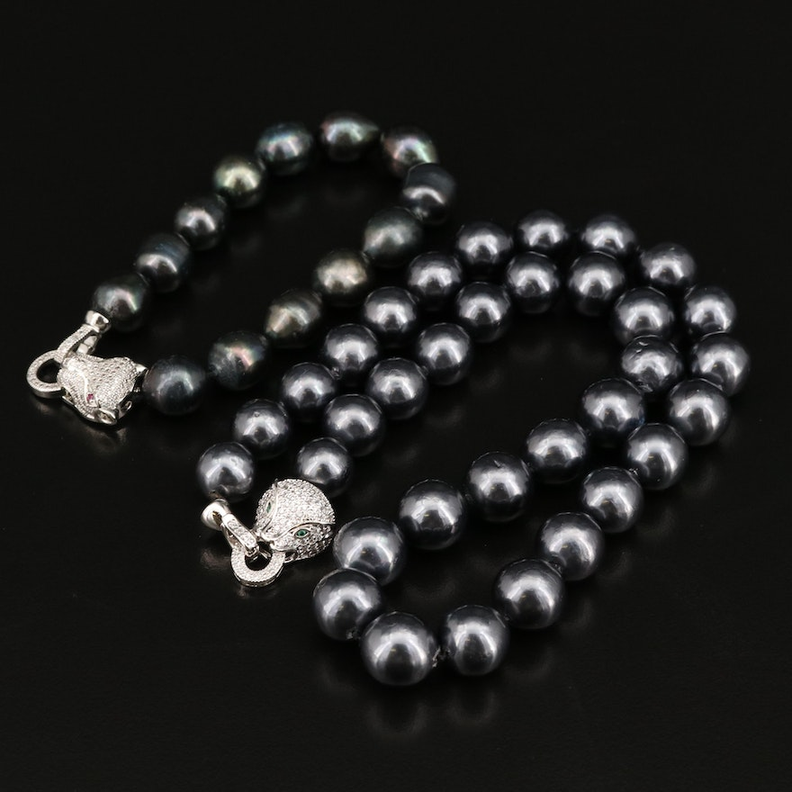 Pearl, Faux Pearl and Cubic Zirconia and Feline Door Knocker Jewelry Set