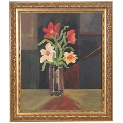 "Jim Helbling Oil Painting ""Vase of Flowers,"" 2009"