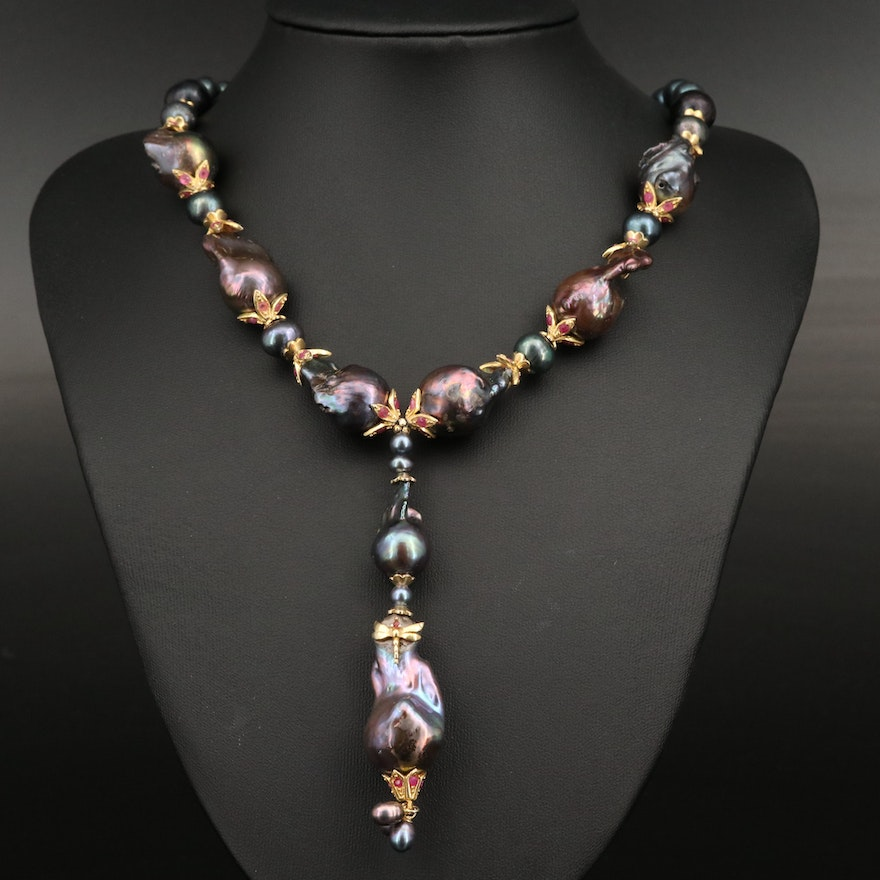 Sterling Silver Pearl and Ruby Y Necklace