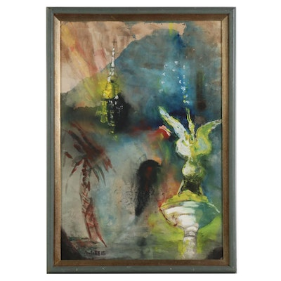 A. Greig Mixed Media Painting of Abstract Landscape with Steeple and Fountain