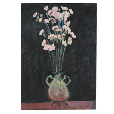 Jerald Mironov Large-Scale Oil Painting of a Floral Still Life, 1996