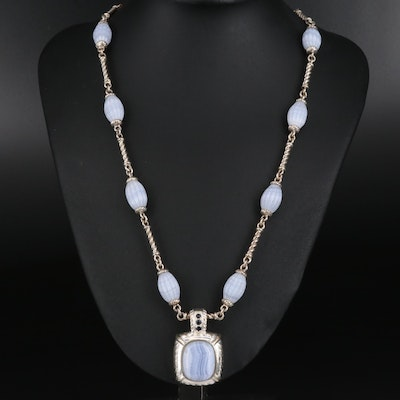 Judith Ripka Lace Agate and Sapphire Enhancer Pendant on Station Necklace