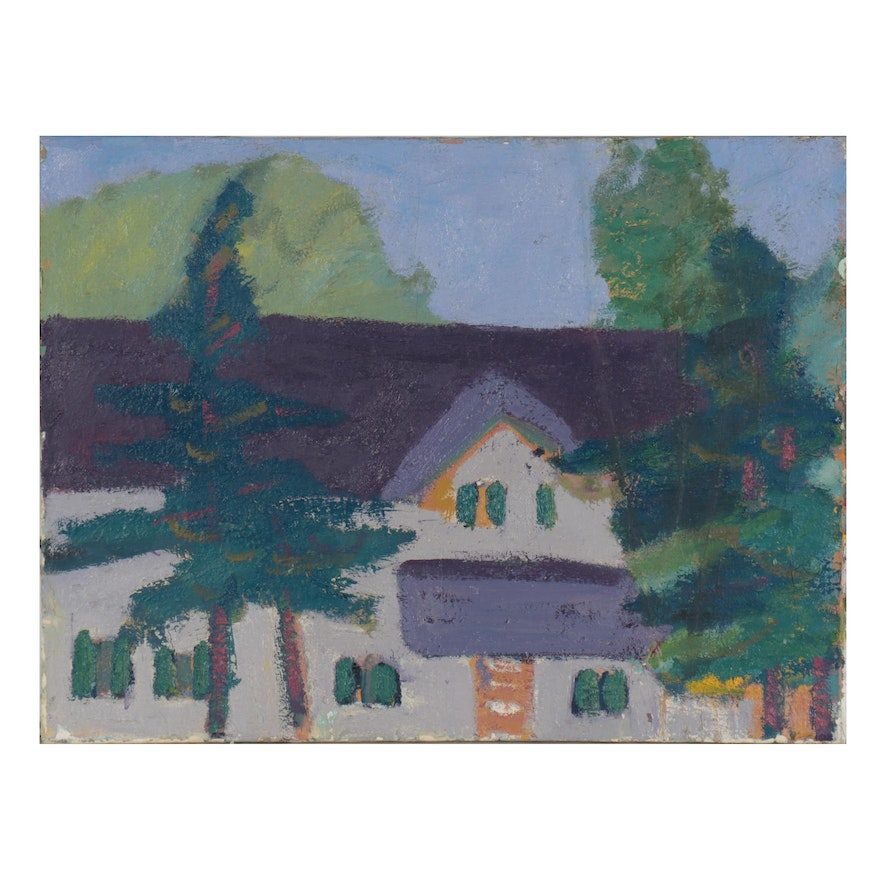 Jerald Mironov Abstract Oil Painting of House and Trees