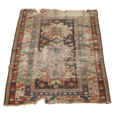 3'8 x 4'6 Hand-Knotted Caucasian Kazak Area Rug, 1880s