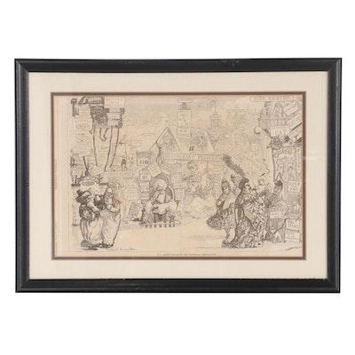 Walter Brown Wood Engraving of Artist's Dream of the Centennial Restaurants