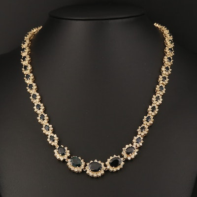 14K Graduated 8.22 CTW Sapphire and 9.94 CTW Diamond Necklace