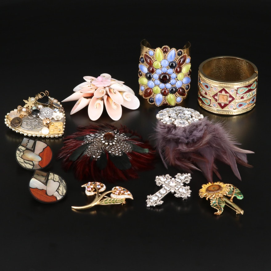 Mother of Pearl and Rhinestone Jewelry Selection