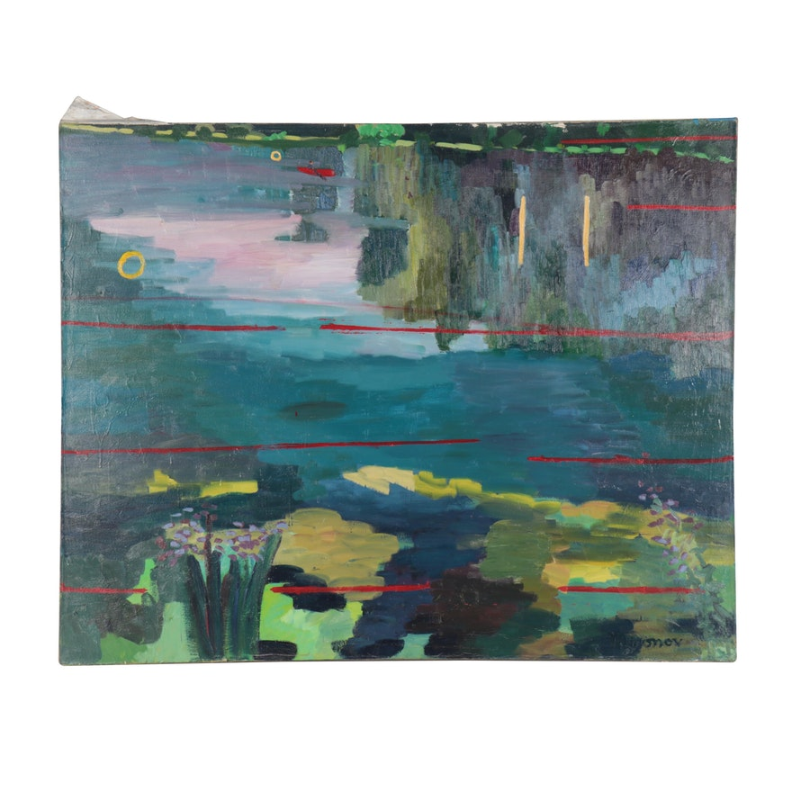 Jerald Mironov Large-Scale Landscape Oil Painting, Late 20th Century