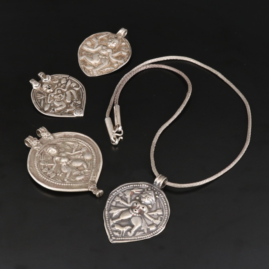 Rajasthani Bhairava Amulet Pendants and Necklace with Sterling and 800 Silver