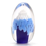 Sommerso Blue and White Egg Shaped Glass Paperweight with Sea Anemone Design