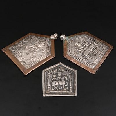 Rajasthani Die-Stamped Amulets Featuring Hero Ramdevji Including 800 Silver