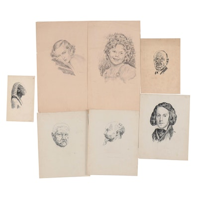 Gerhard Kramer Ink and Pastel Portraits Including Shirley Temple