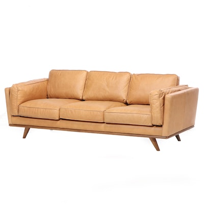 "Article ""Timber Collection"" Modernist Style Aniline Leather Sofa"