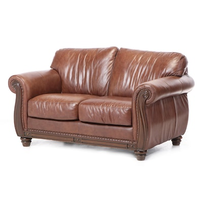 Robinson & Robinson Brass-Tacked Leather Loveseat