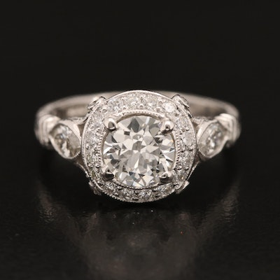Platinum 1.99 CTW Diamond Milgrain Ring with GIA Report
