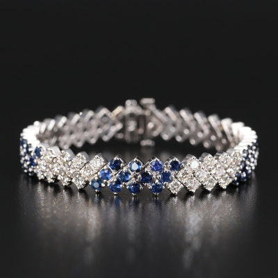 18K 5.25 CTW Diamond and Sapphire Multi-Row Bracelet