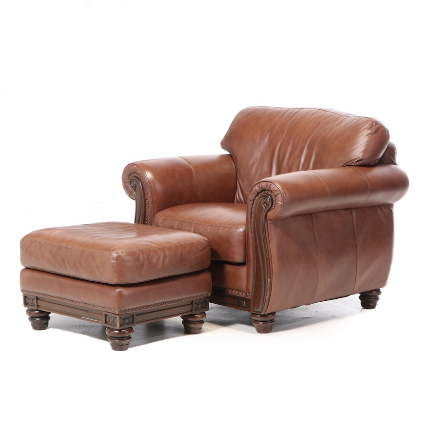 Robinson & Robinson Brass-Tacked Leather Club Chair and Ottoman
