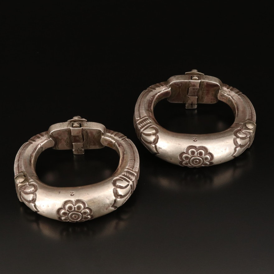 Indian Rajasthani 850 Silver Floral Kadla Hinged Anklets