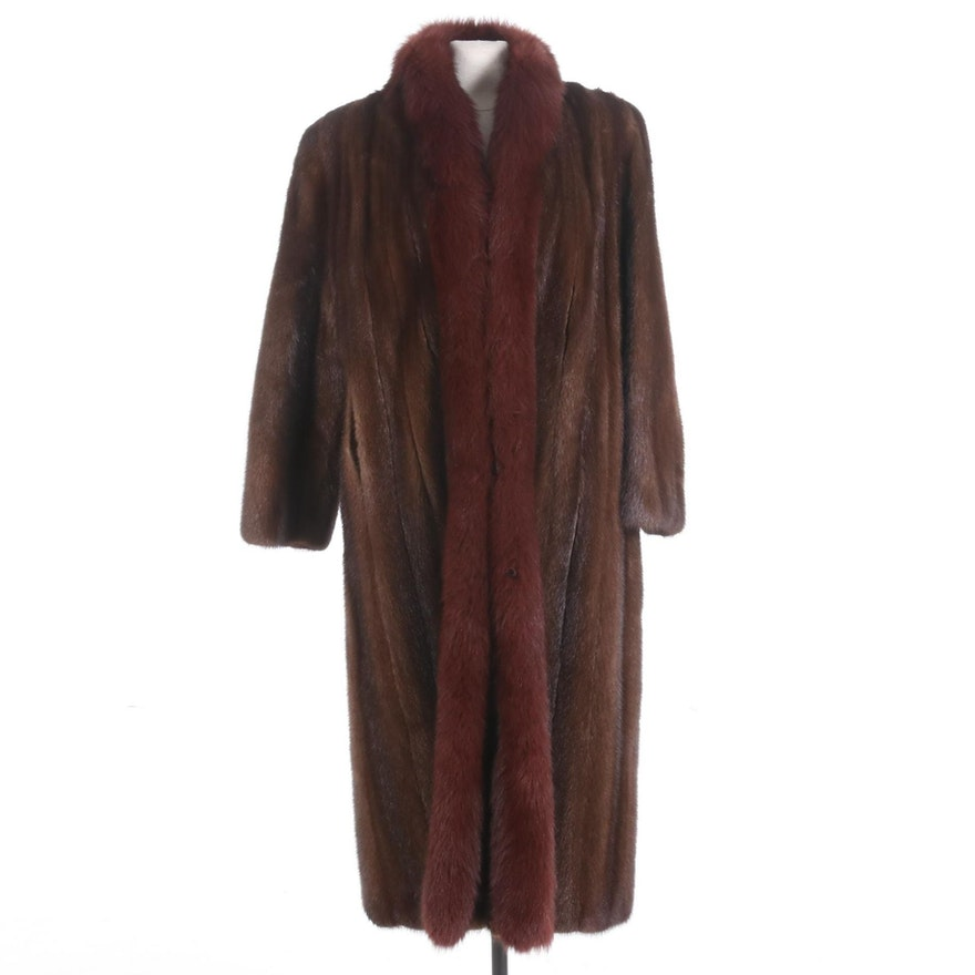 Robert Sidney for Giorgio Sant' Angelo Mahogany Mink Fur Coat with Fox Fur Trim