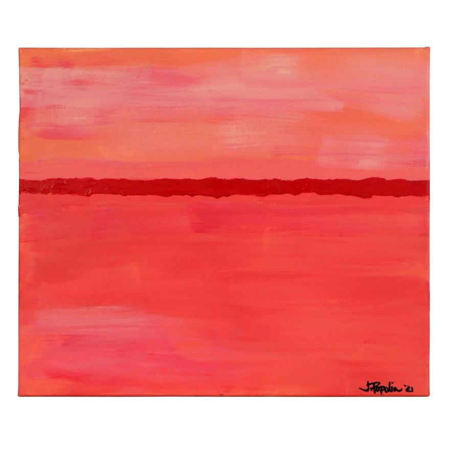 "J. Popolin Abstract Acrylic Painting ""Sedona Yoga Four,"" 2021"