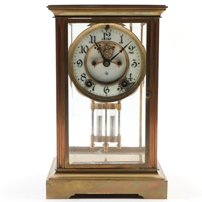 Ansonia Brass Mantel Clock with Beveled Glass Panels, Early/Mid 20th Century