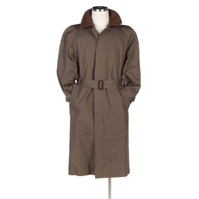 Men's Jos. A. Bank Raincoat with Removable Wool Blend Liner and Leather Collar