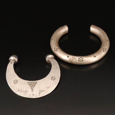 Indian Sterling and Fine Silver Gujarati Stamped Crescent Moon Bracelets