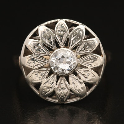 Vintage 14K Diamond Floral Motif Ring