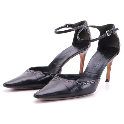 Jil Sander Black Pointed-Toe Ankle-Strap Heels with Brown Contrast Stitching