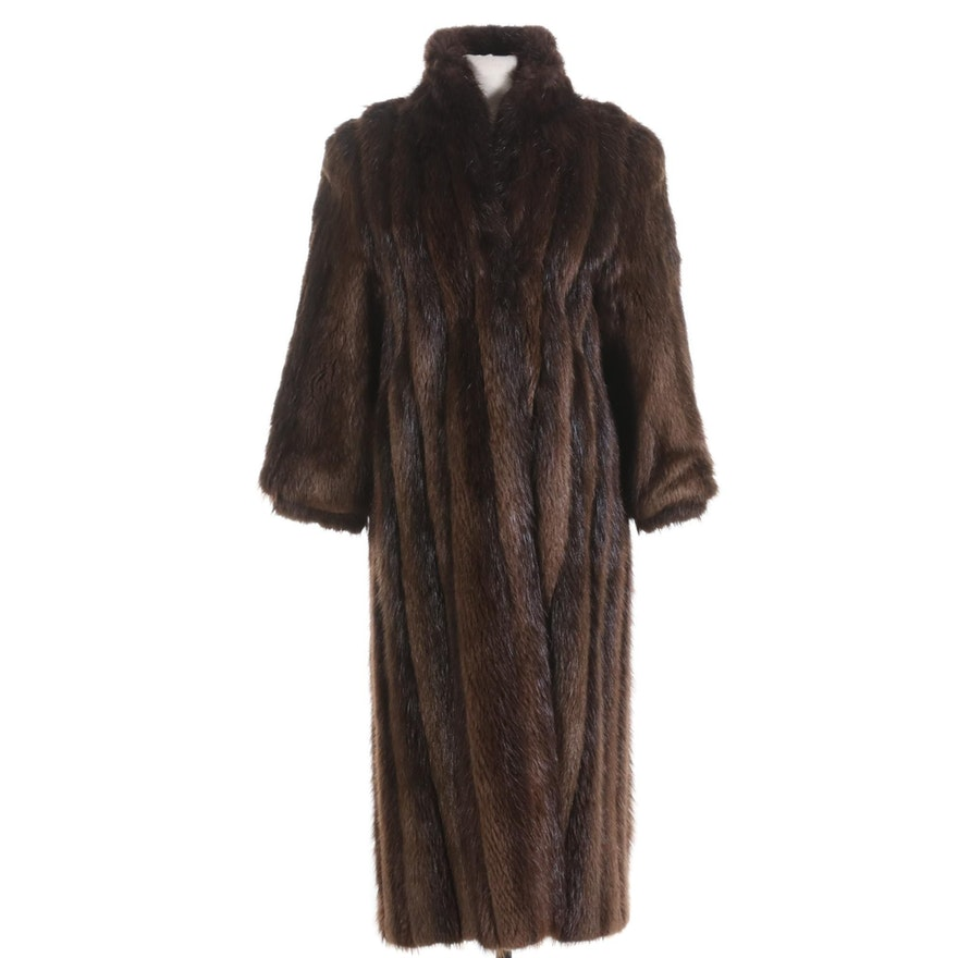 Beaver Fur Full-Length Coat with Banded Cuffs from Thomas E. McElroy