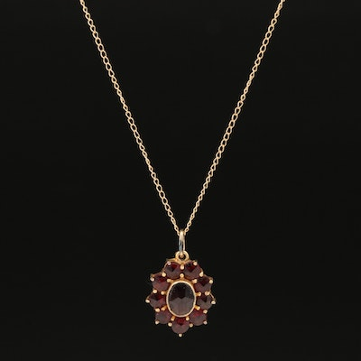 10K Garnet Pendant on 14K Chain Necklace