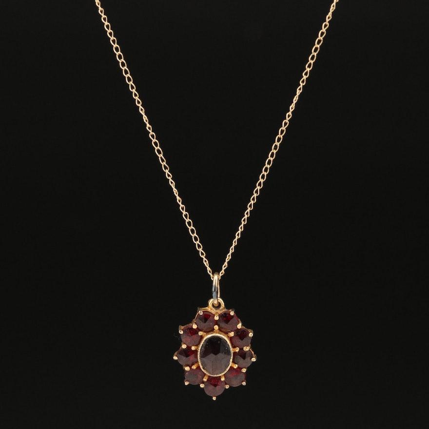 10K Garnet Pendant on 14K Chain Necklace