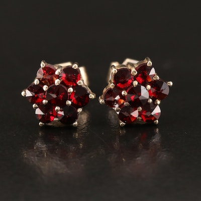 Vintage Sterling Garnet Stud Earrings