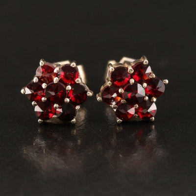 Vintage Sterling Garnet Stud Earrings