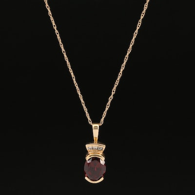 10K Semi-Bezel Set Garnet Pendant on 14K Chain Necklace