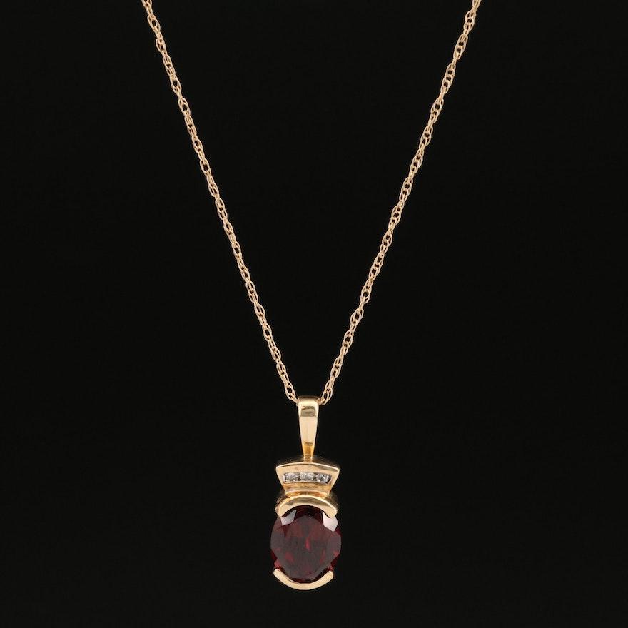 10K Semi-Bezel Set Garnet Pendant on 14K Chain Necklace