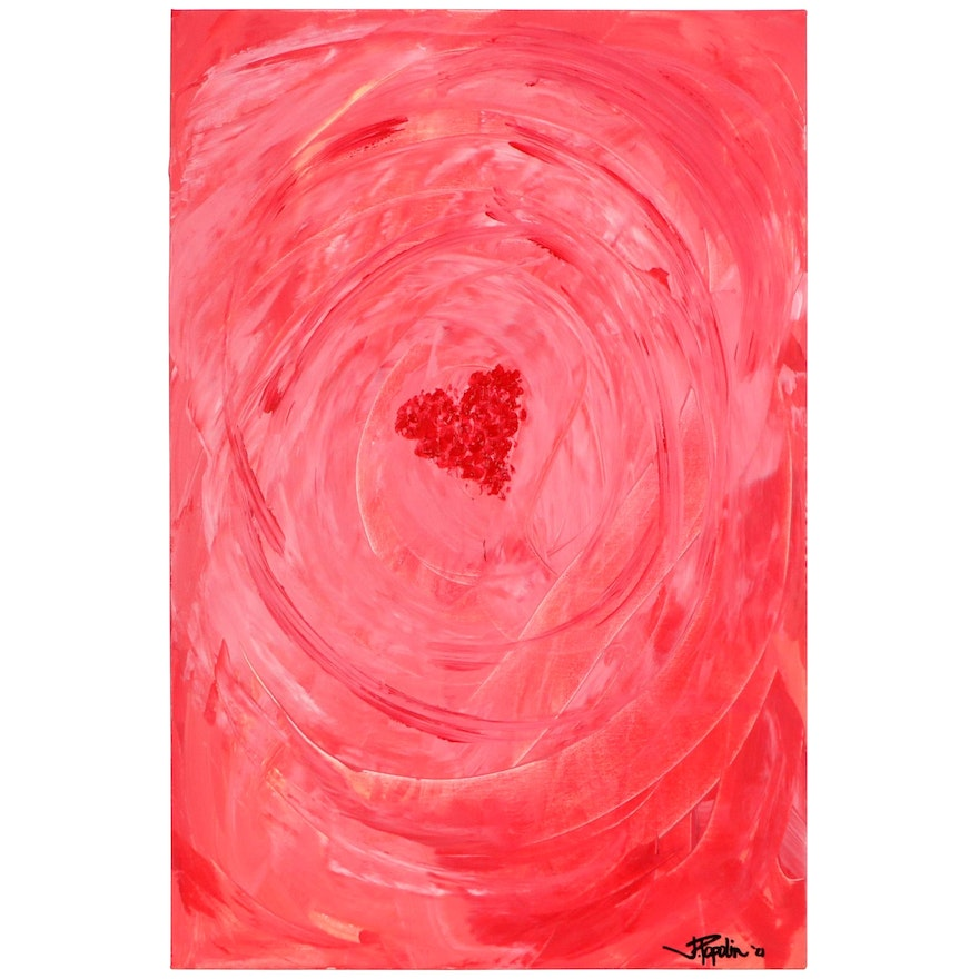 "J. Popolin Abstract Acrylic Painting ""Women at the Heart of It,"" 2021"