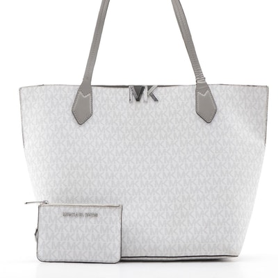 Michael Kors Tote in Monogram Leather and Smooth Leather with Matching Wallet