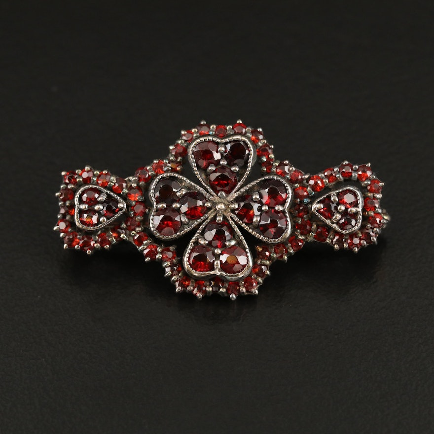 Vintage Sterling Garnet Bar Pin