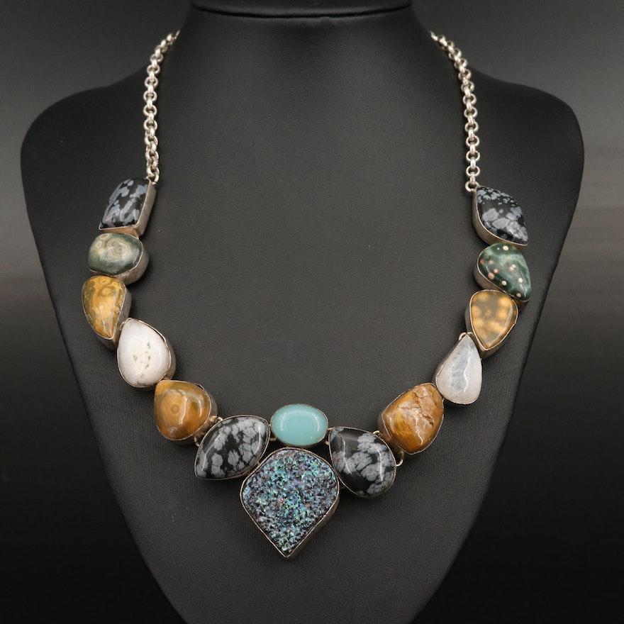 Bib Necklace with Obsidian, Jasper and Chalcedony