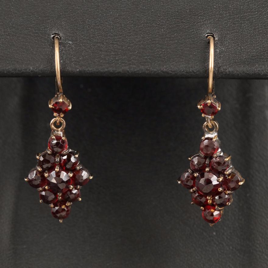 Vintage 835 Silver Garnet Earrings