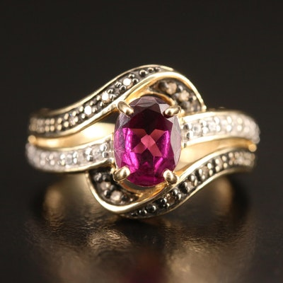 10K Garnet, White Topaz and Diamond Bypass Ring