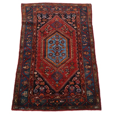 4' x 6'5 Hand-Knotted Persian Zanjan Area Rug, 1920s