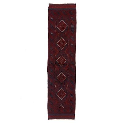 1'11 x 8' Hand Knotted Afghan Turkmen Carpet Runner, 2000s